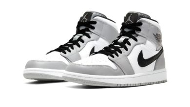 "Photo of The Air Jordan 1 Mid Is Here In ""Light Ash/White/Black"" Colorway"